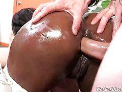 Skyler Nicole gets her mouth and asshole filled with cocks.