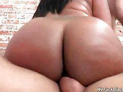 Curvaceous black slutie has fun with two tough white guys.