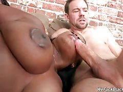 Naughty chocolate babe Jayden Starr enjoys hot threesome.